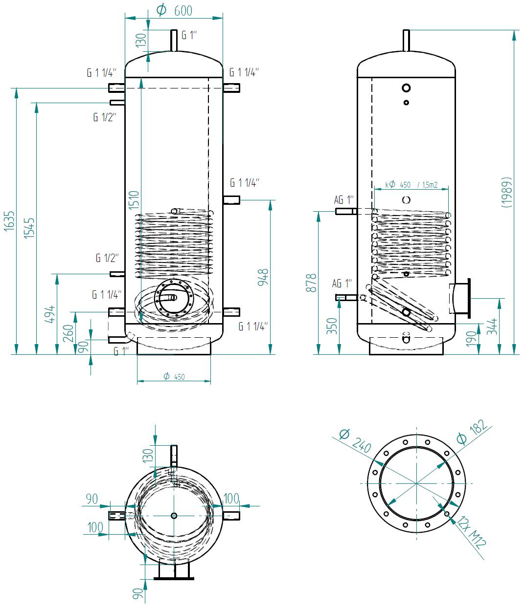 Zbiornik buforowy prosty 500l z wymiennikiem