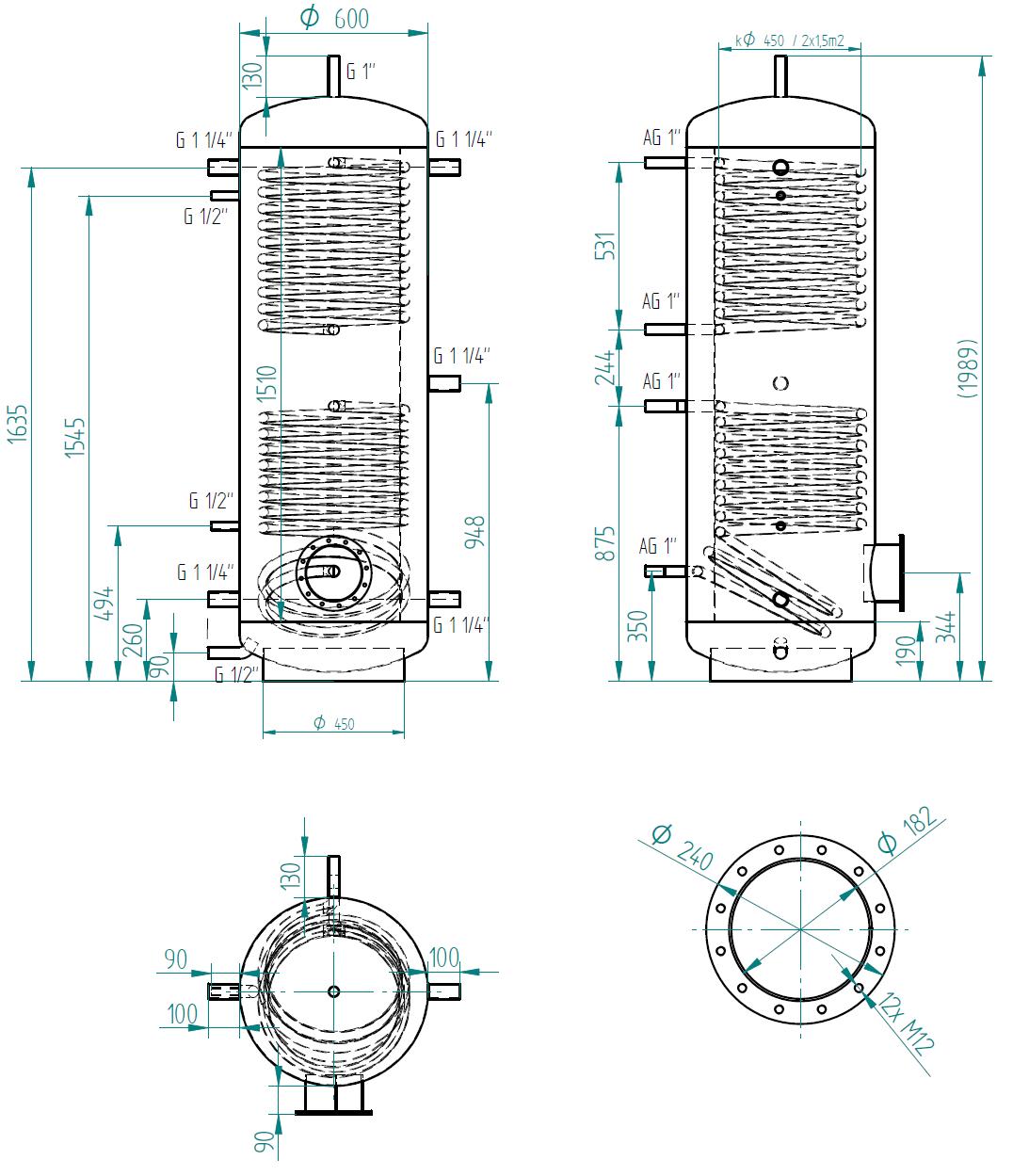 zbiornik buforowy prosty 500l z dwoma wymiennikami
