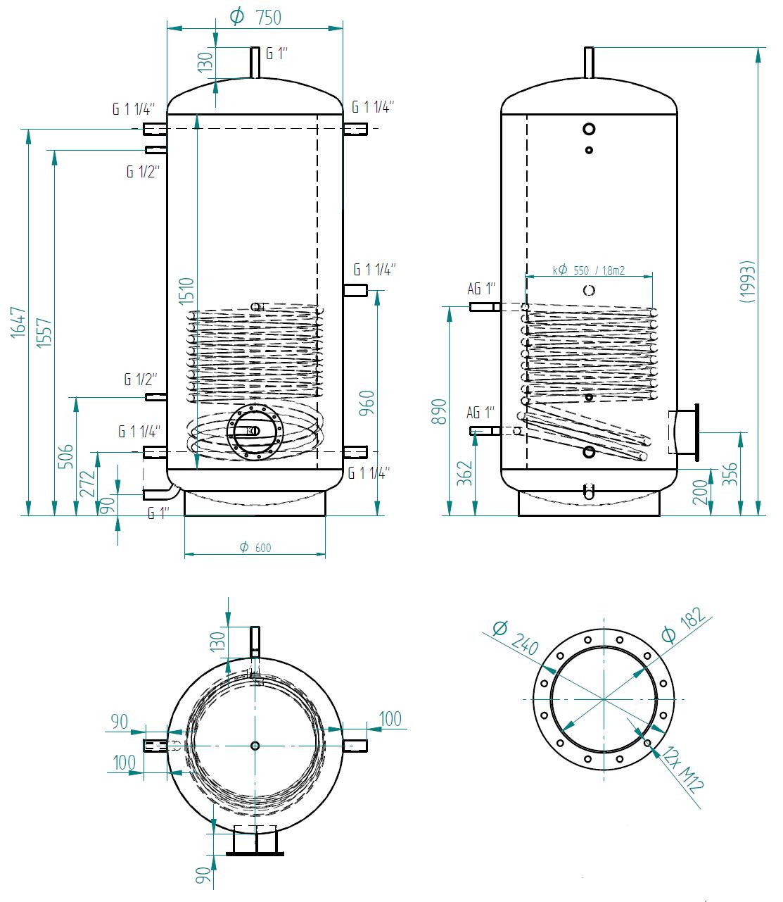Zbiornik buforowy prosty 750l z wymiennikiem