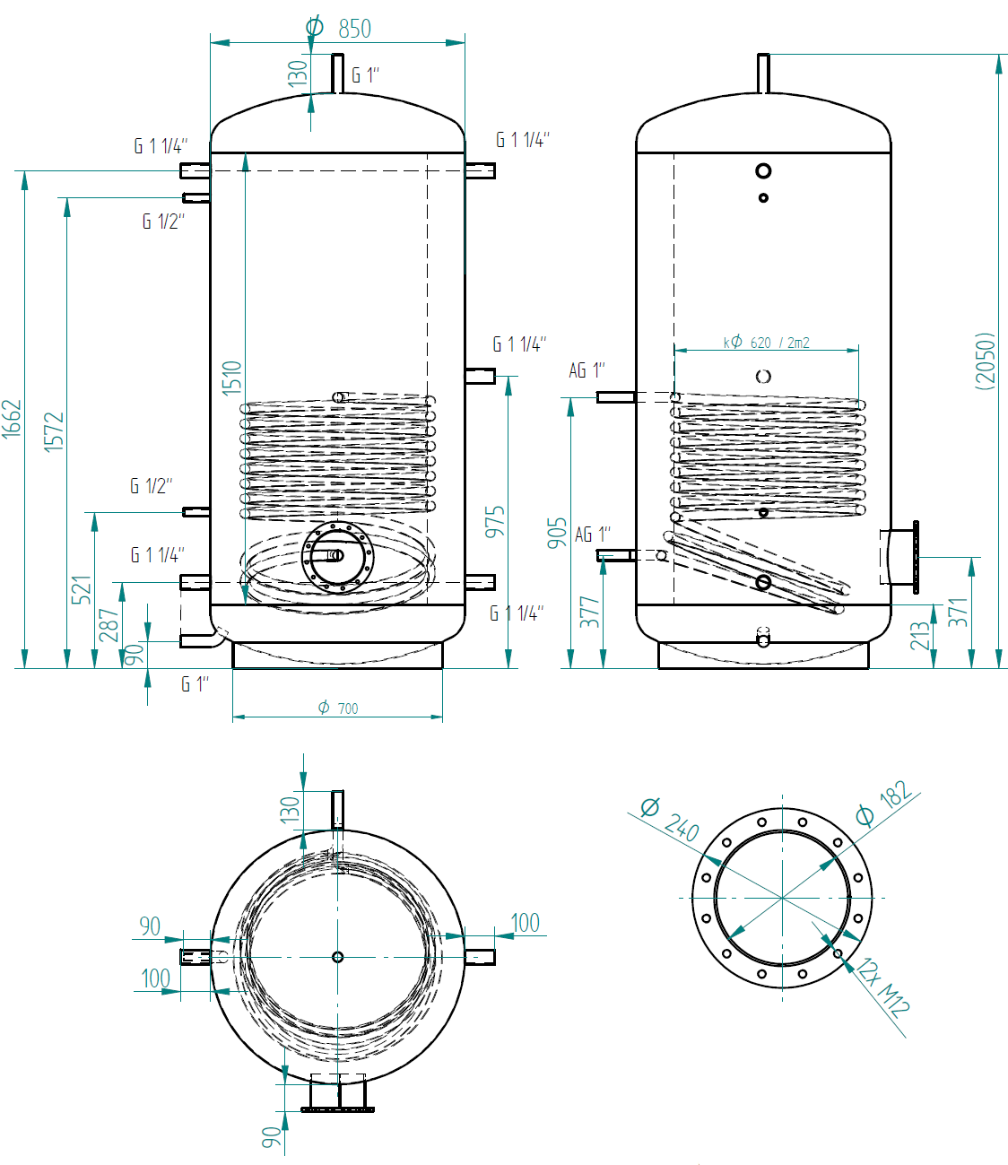 Zbiornik buforowy prosty 1000l z wymiennikiem