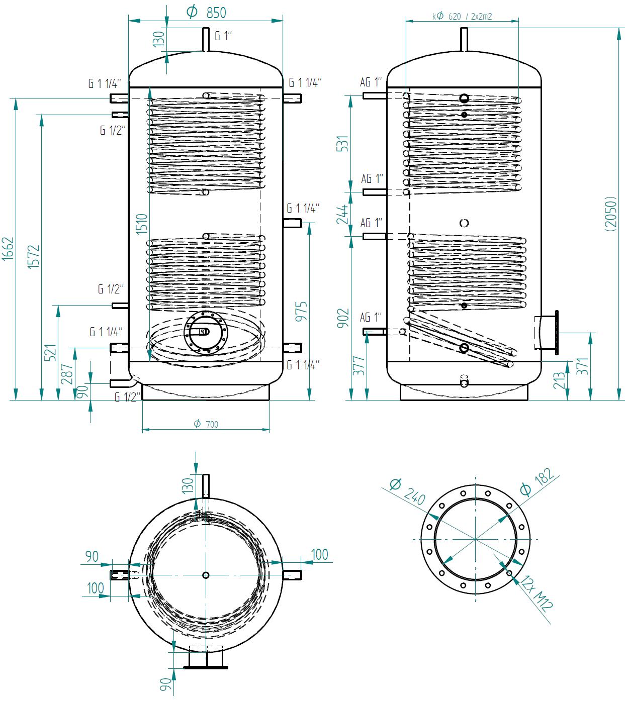zbiornik buforowy prosty 1000l z dwoma wymiennikami
