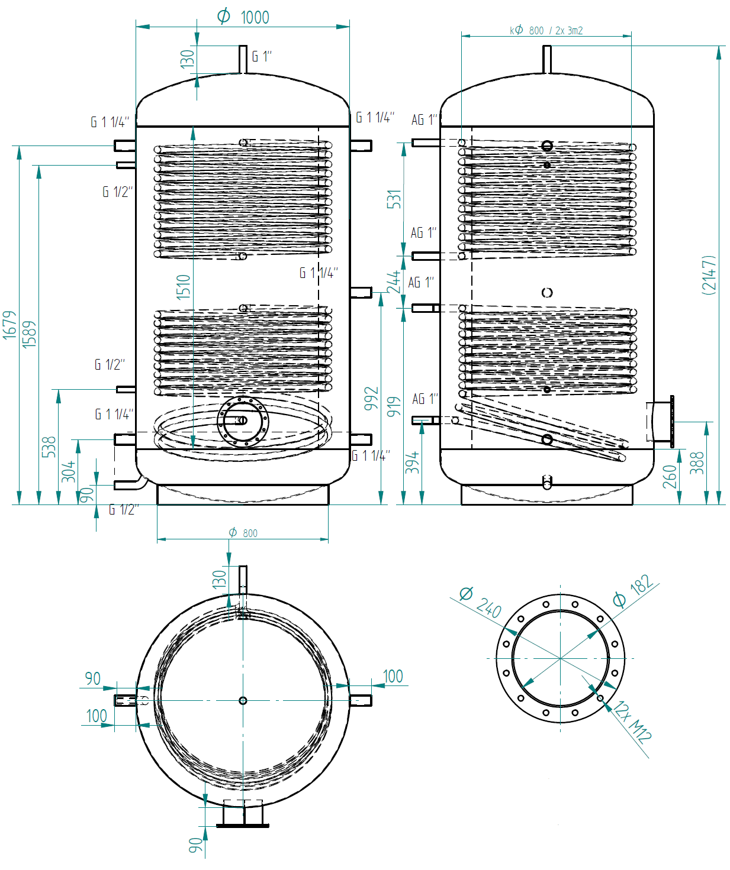 zbiornik buforowy prosty 1500l z dwoma wymiennikami