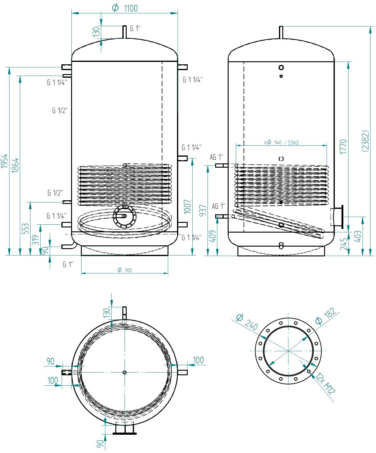 Zbiornik buforowy prosty 2000l z wymiennikiem