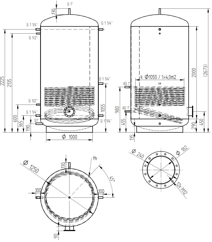 Zbiornik buforowy prosty 3000l z wymiennikiem