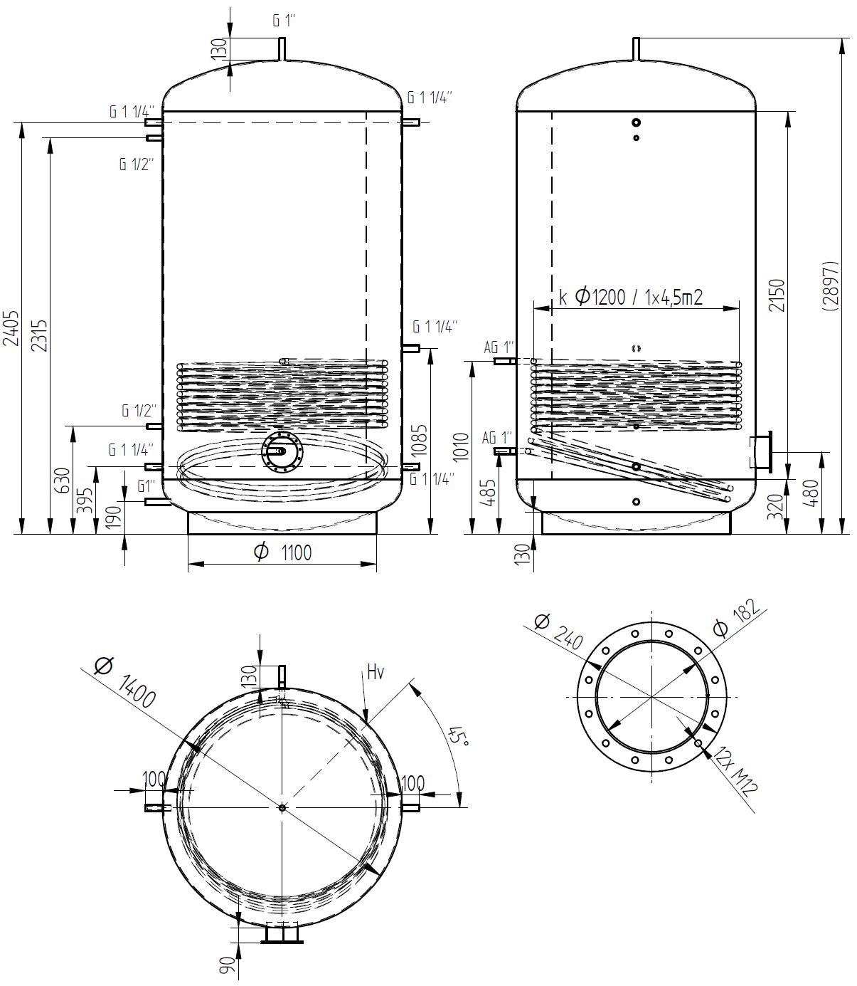 Zbiornik buforowy prosty 4000l z wymiennikiem