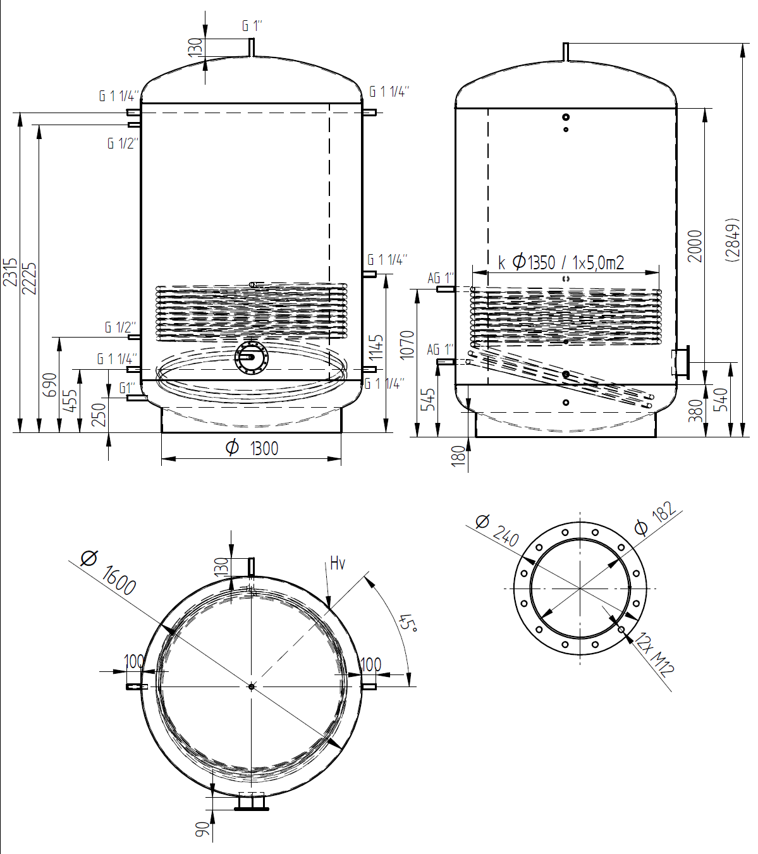 Zbiornik buforowy prosty 5000l z wymiennikiem
