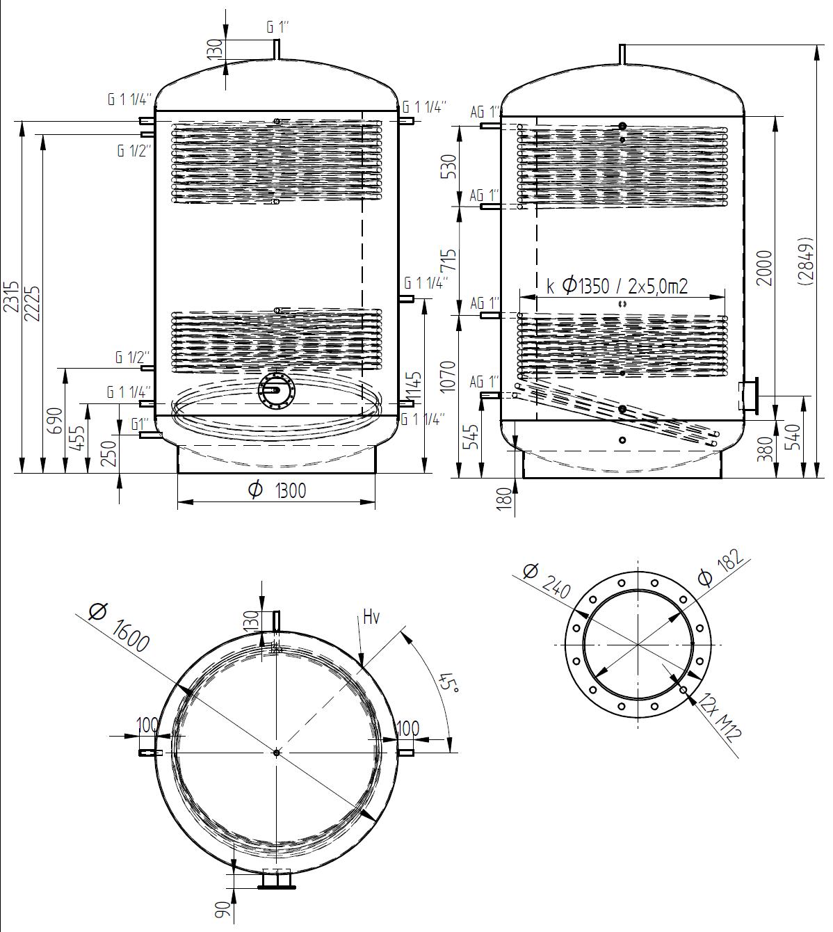 zbiornik buforowy prosty 5000l z dwoma wymiennikami