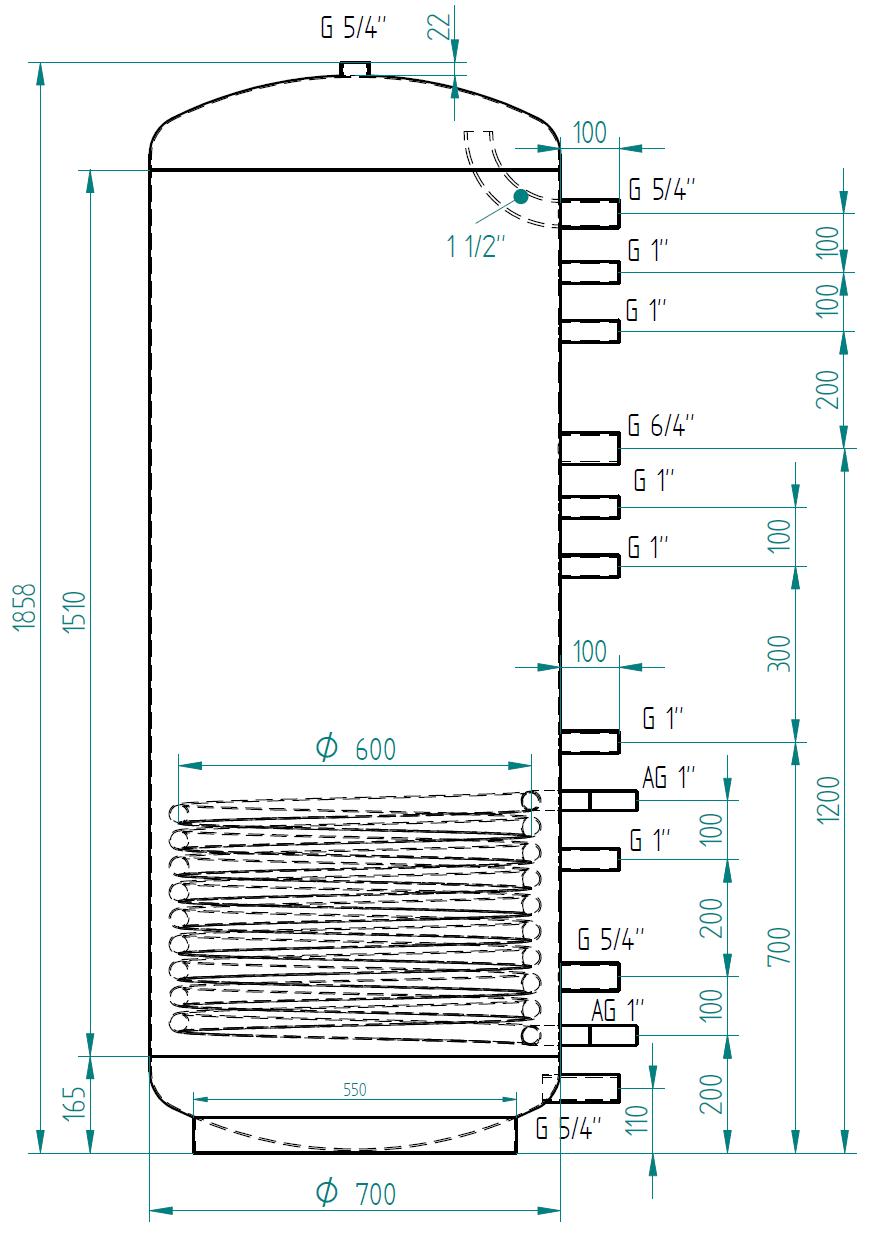 Zbiornik buforowy kompaktowy 650l z wymiennikiem