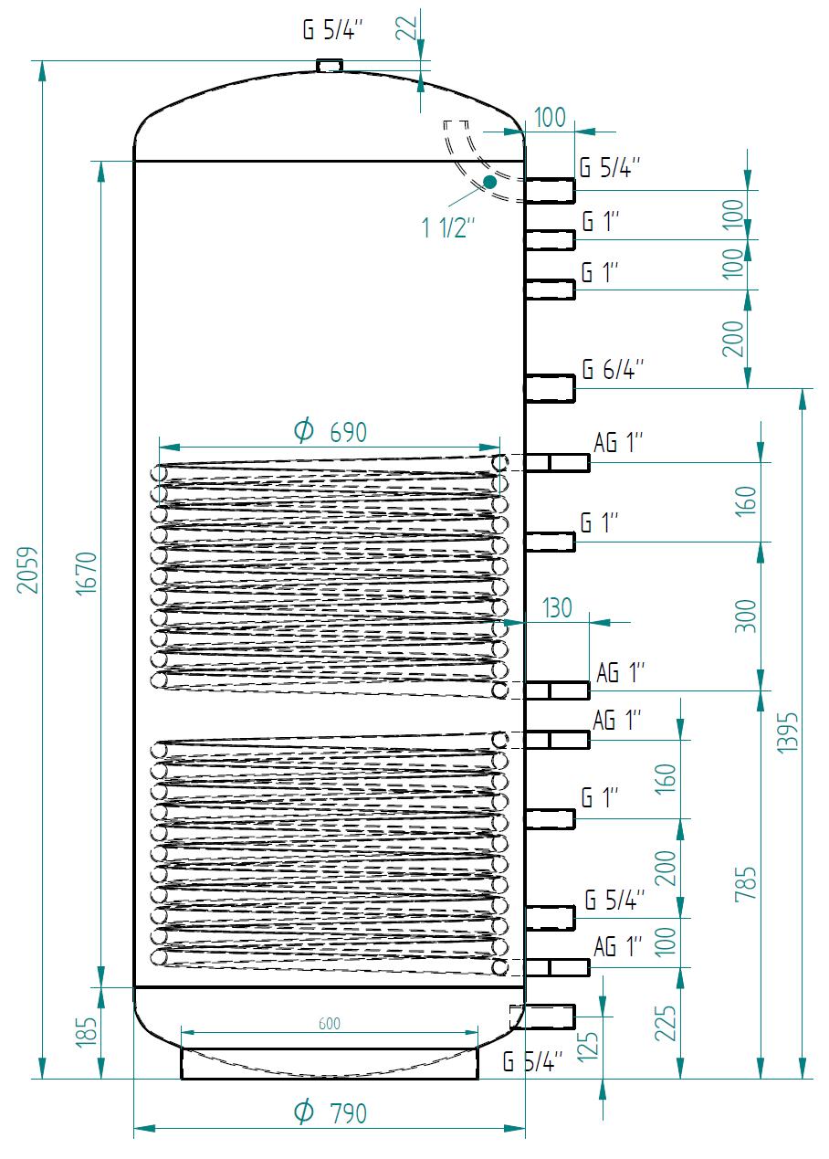 zbiornik buforowy kompaktowy 1000l z dwoma wymiennikami