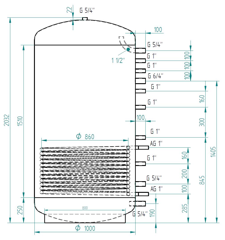 Zbiornik buforowy kompaktowy 1500l d1000 z wymiennikiem