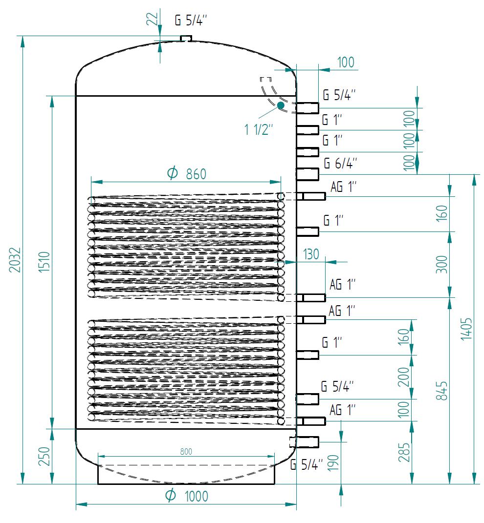 zbiornik buforowy kompaktowy 1500l d1000 z dwoma wymiennikami