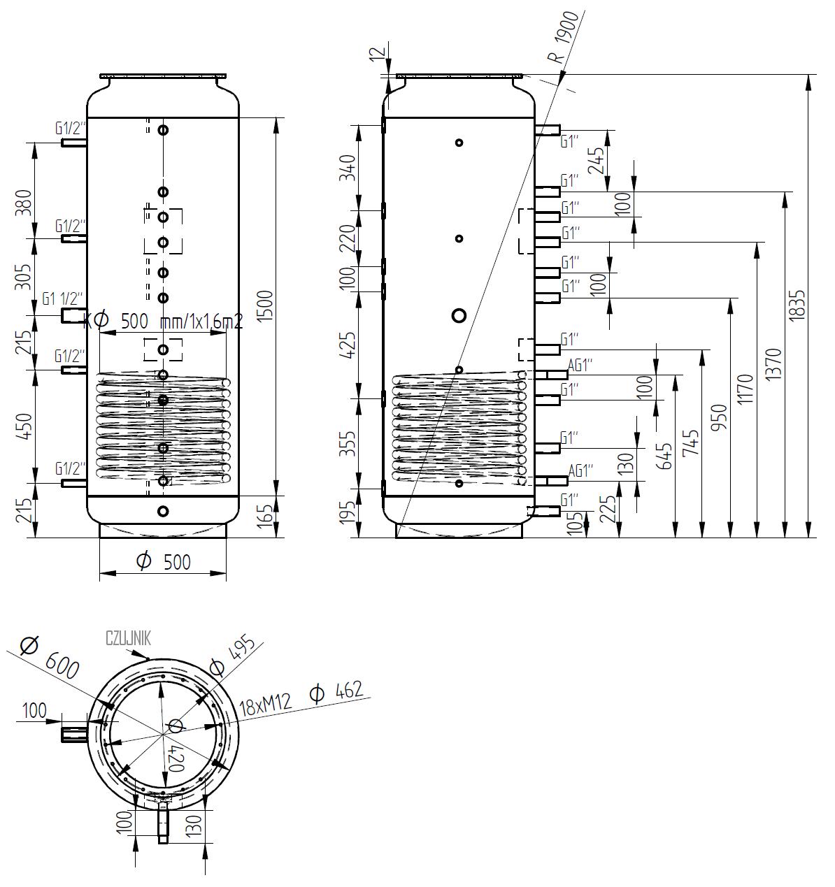 Zbiornik buforowy kombinowany 500l z wymiennikiem