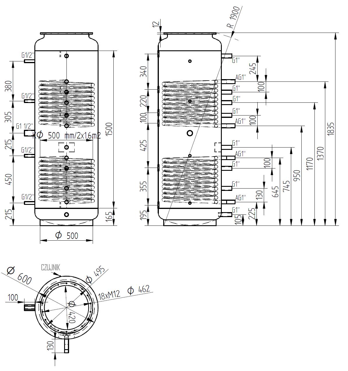 zbiornik buforowy kombinowany 500l z dwoma wymiennikami