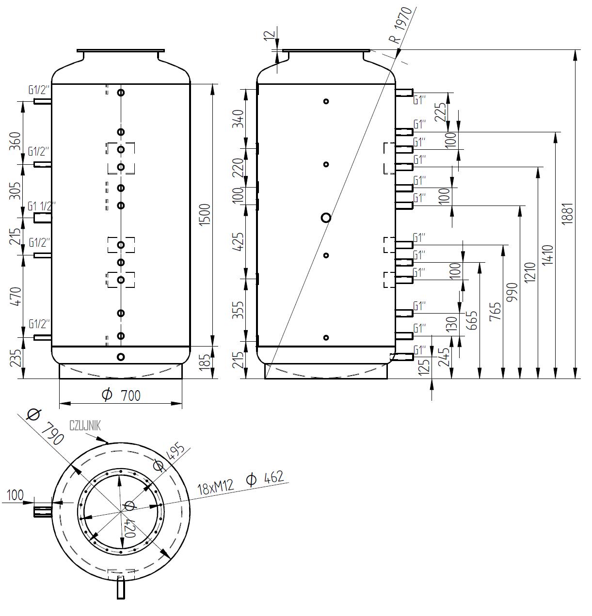 Zbiornik buforowy 800l bez wymiennika