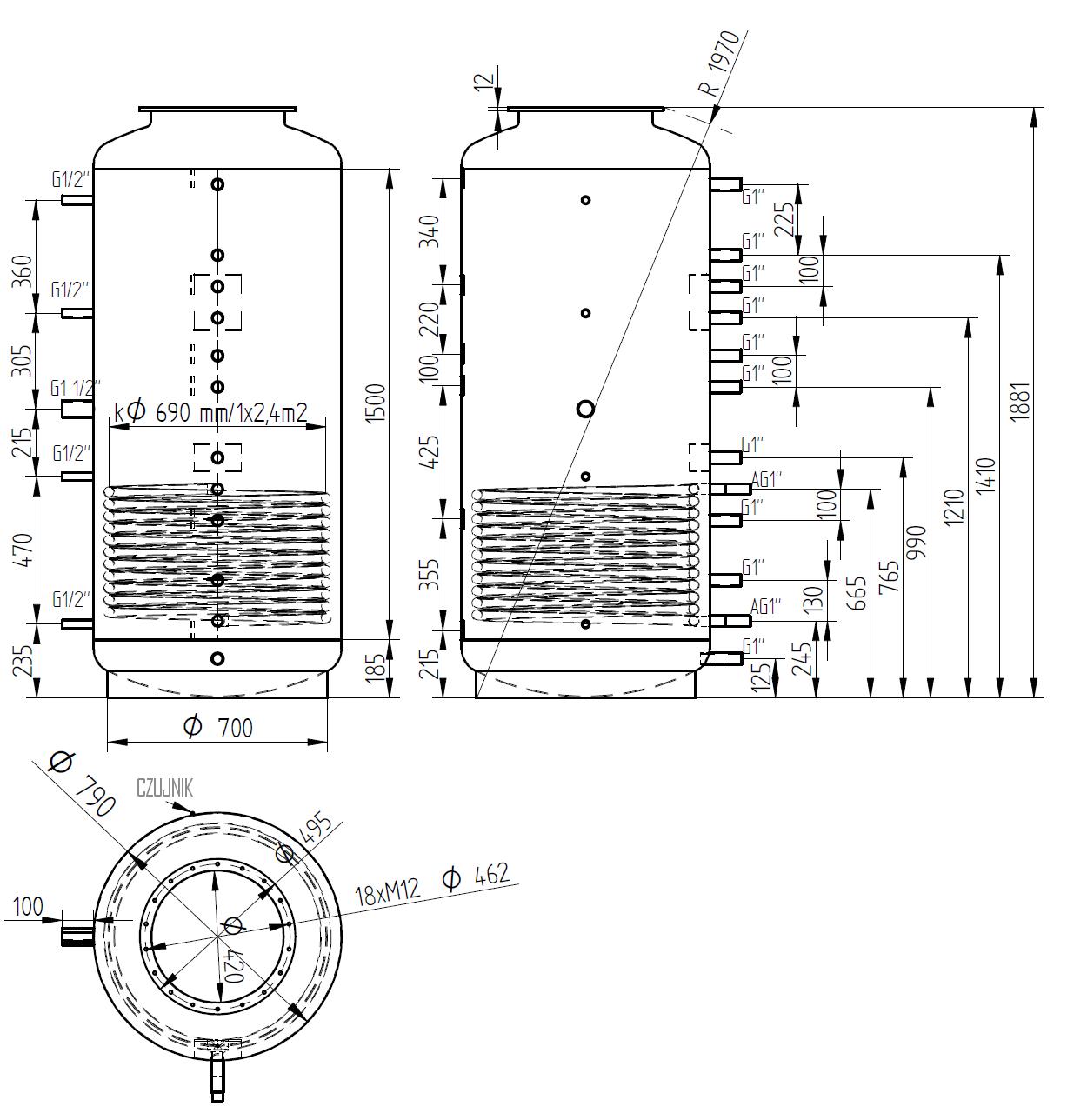 Zbiornik buforowy kombinowany 800l z wymiennikiem