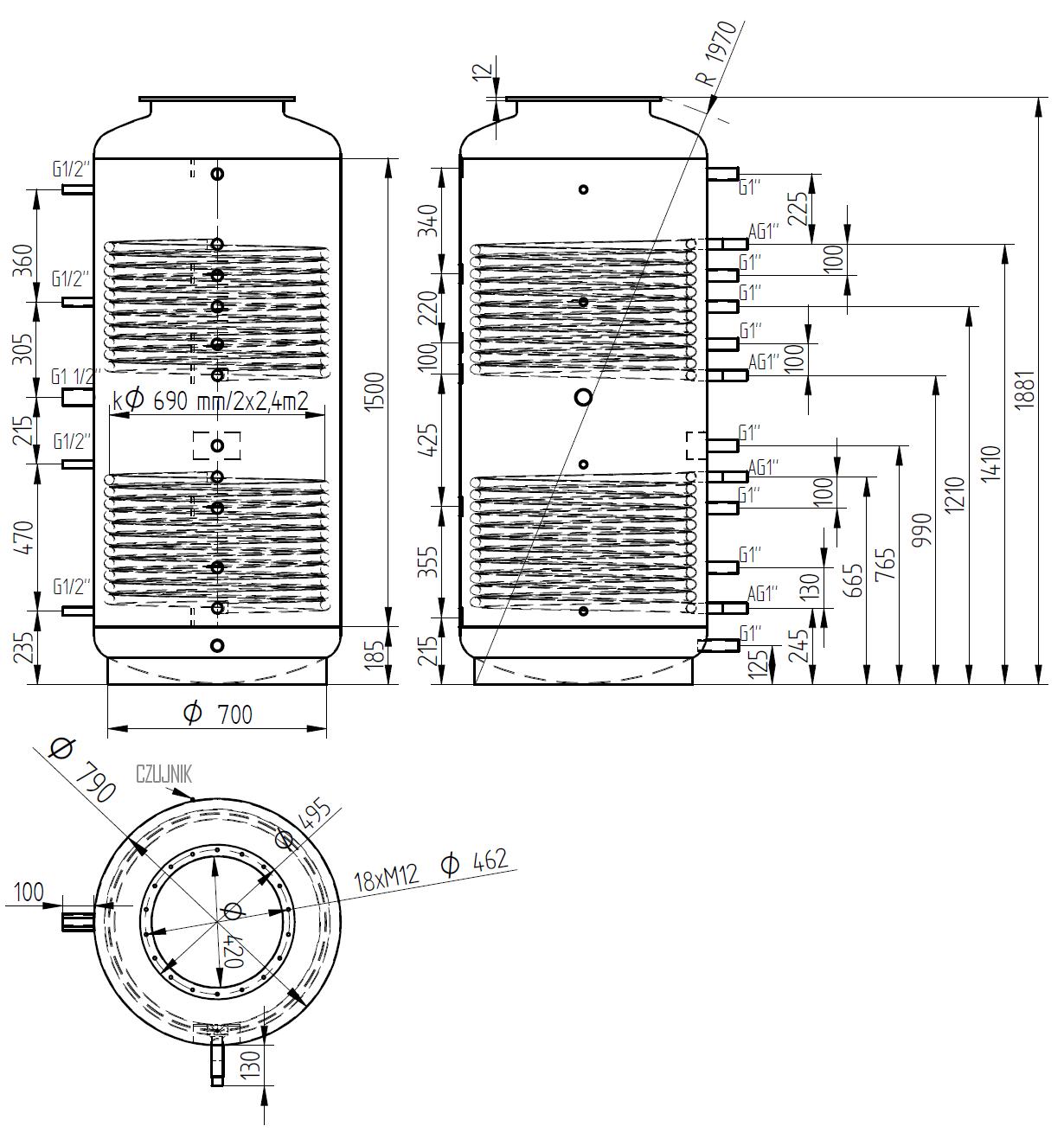 zbiornik buforowy kombinowany 800l z dwoma wymiennikami