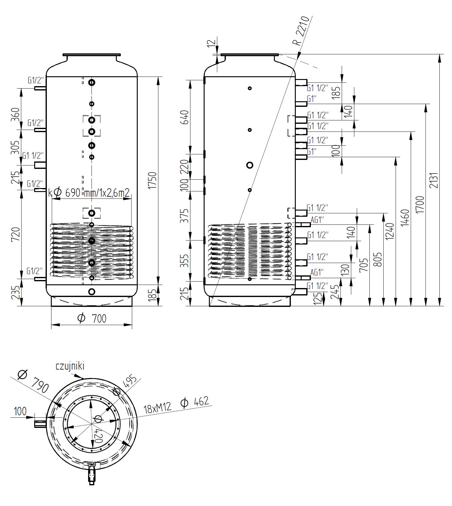Zbiornik buforowy kombinowany 1000l z wymiennikiem