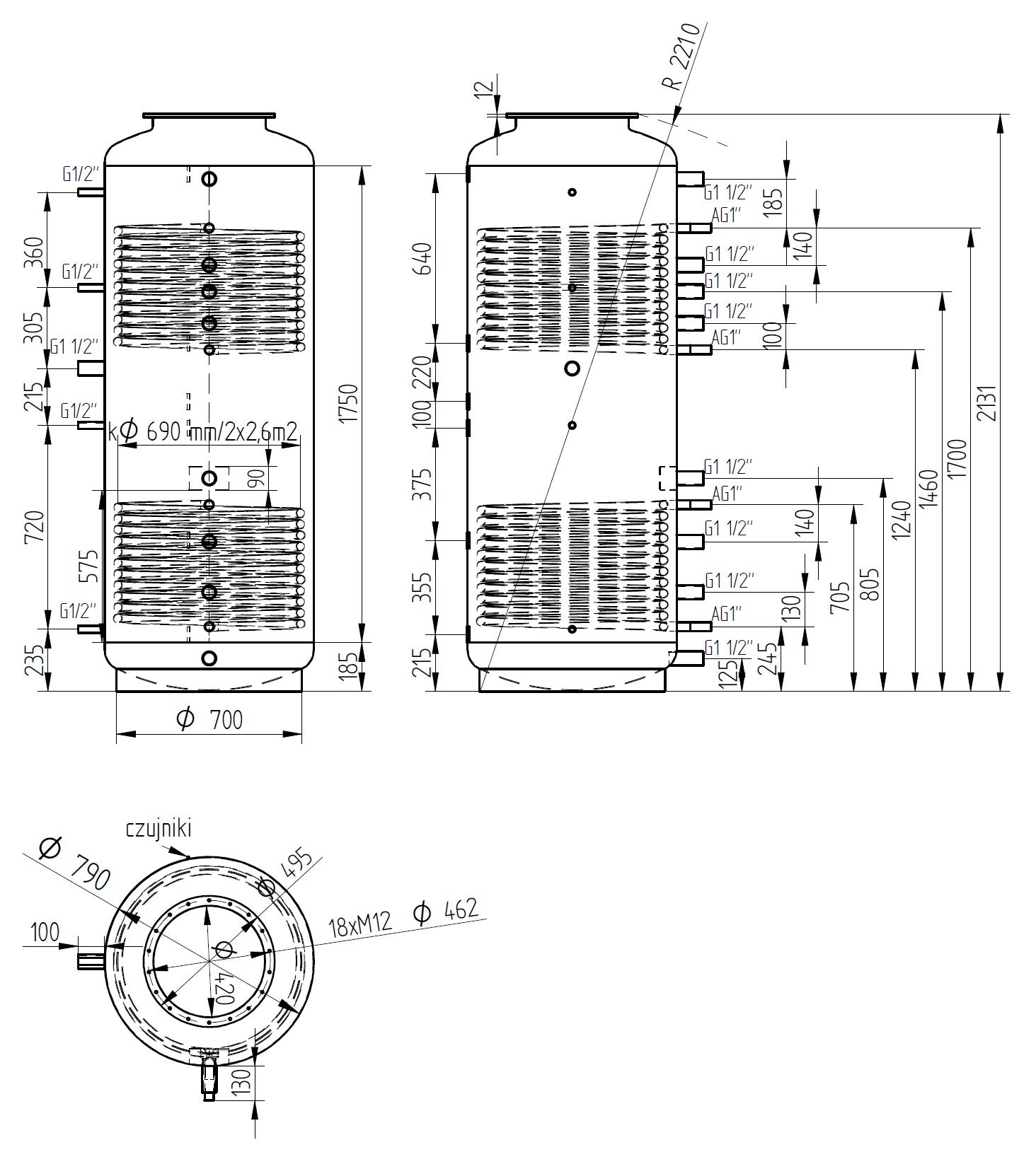 zbiornik buforowy kombinowany 1000l z dwoma wymiennikami