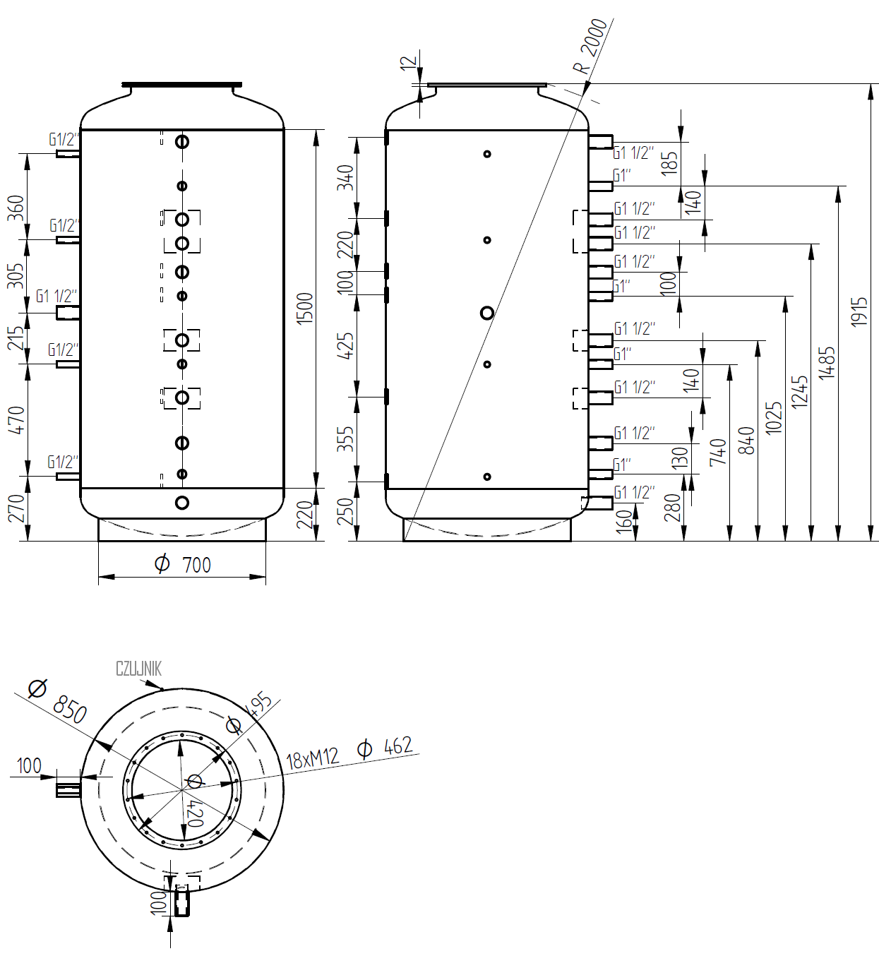 Zbiornik buforowy 1000l d850 bez wymiennika