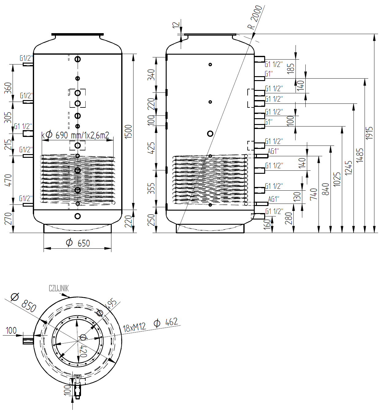 Zbiornik buforowy kombinowany 1000l d850 z wymiennikiem