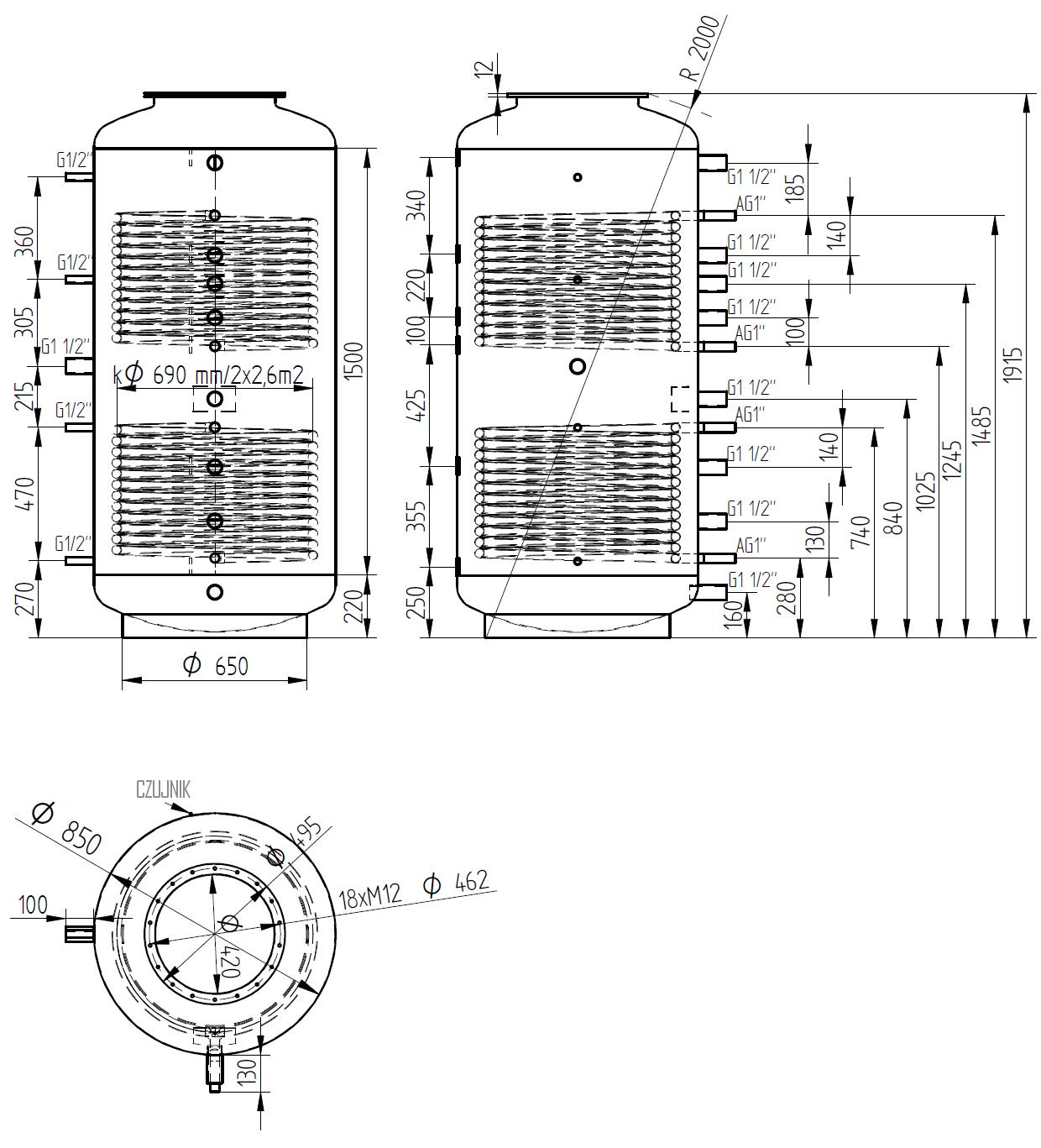 zbiornik buforowy kombinowany 1000l d850 z dwoma wymiennikami