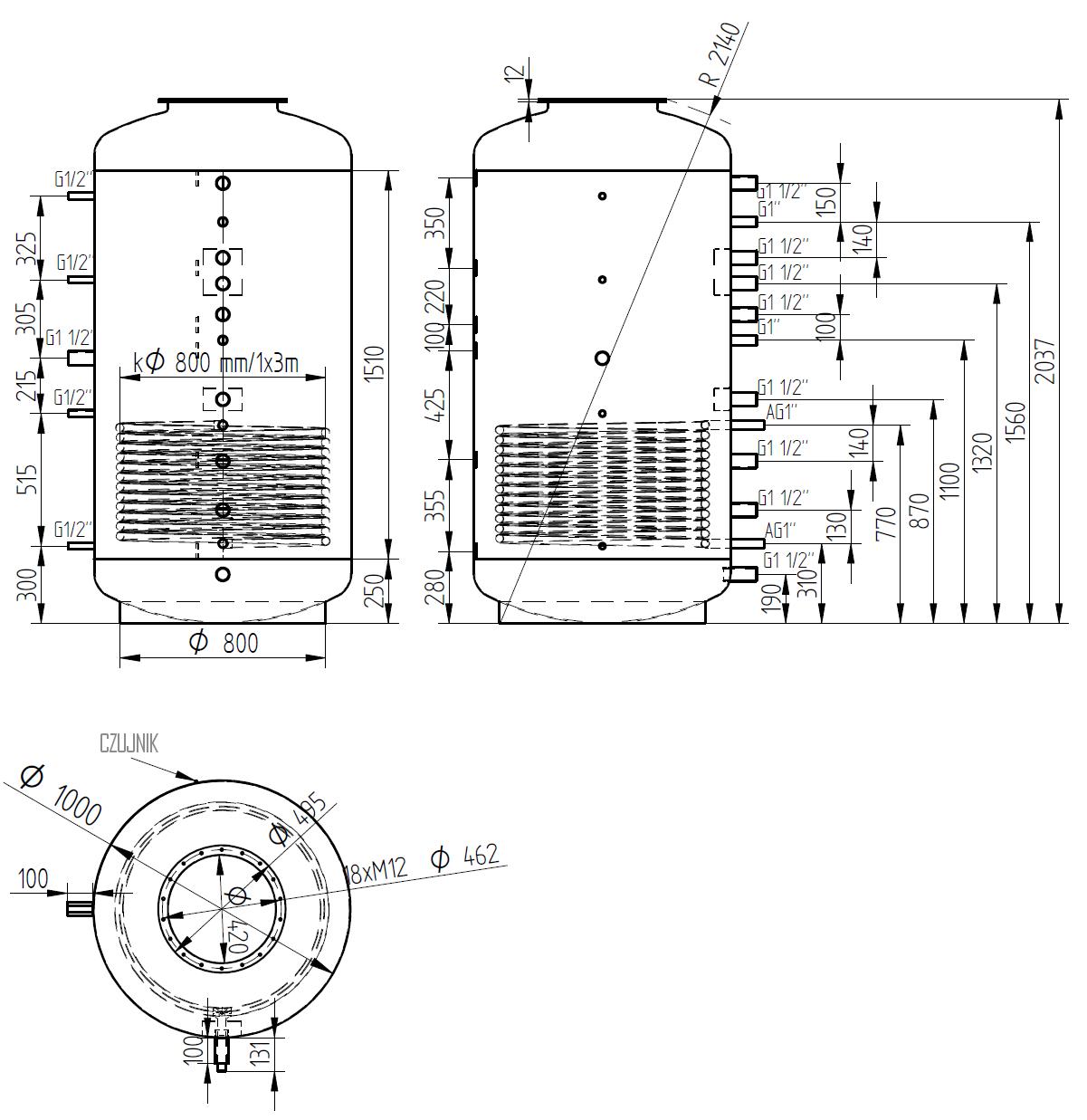 Zbiornik buforowy kombinowany 1500l d1000 z wymiennikiem