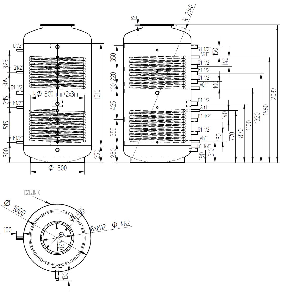 zbiornik buforowy kombinowany 1500l d1000 z dwoma wymiennikami