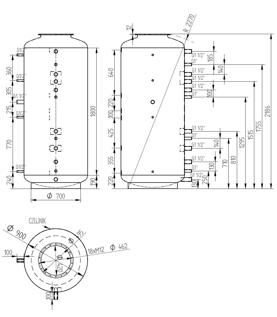 Zbiornik buforowy 1500l d900 bez wymiennika