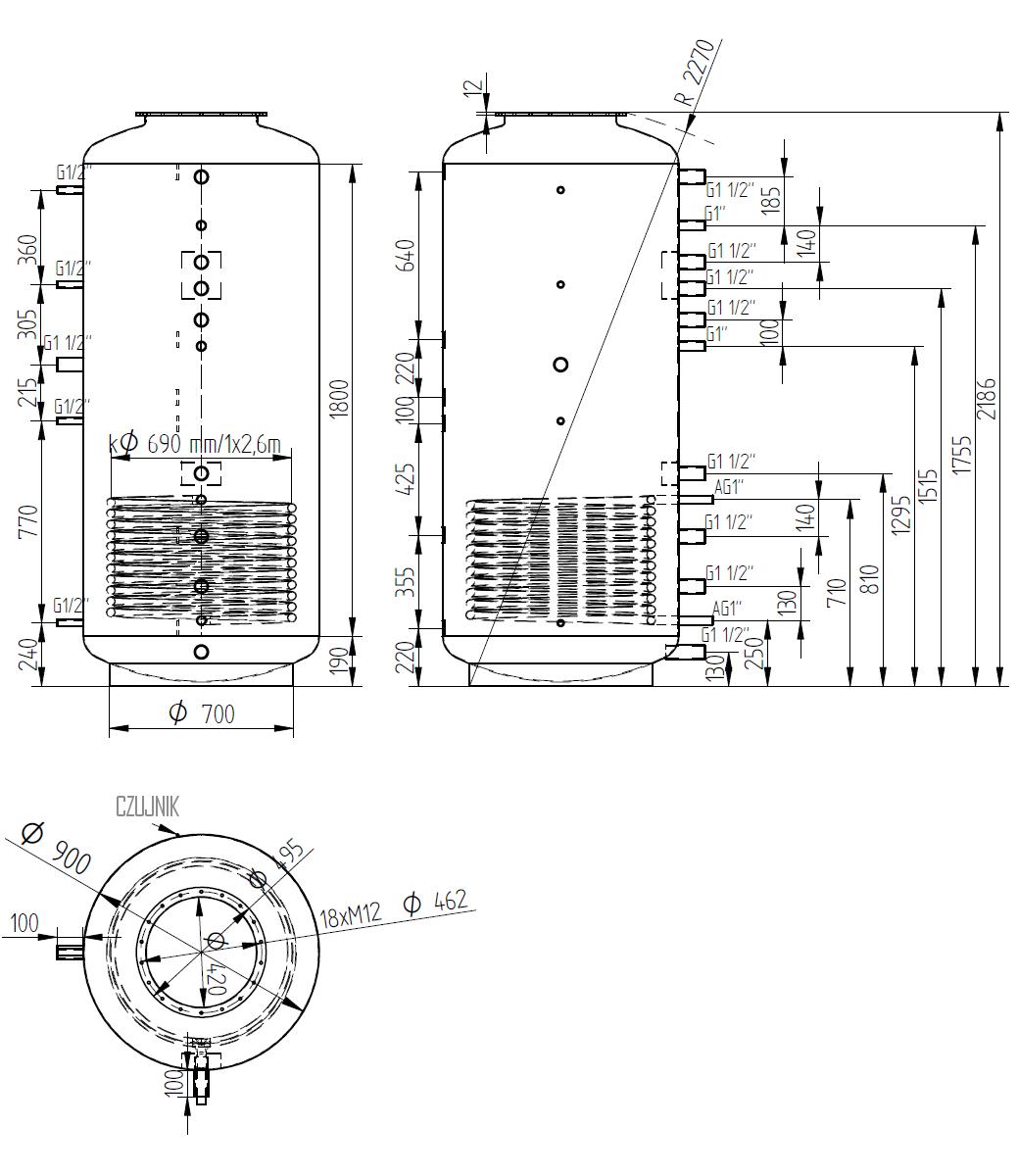Zbiornik buforowy kombinowany 1500l d900 z wymiennikiem