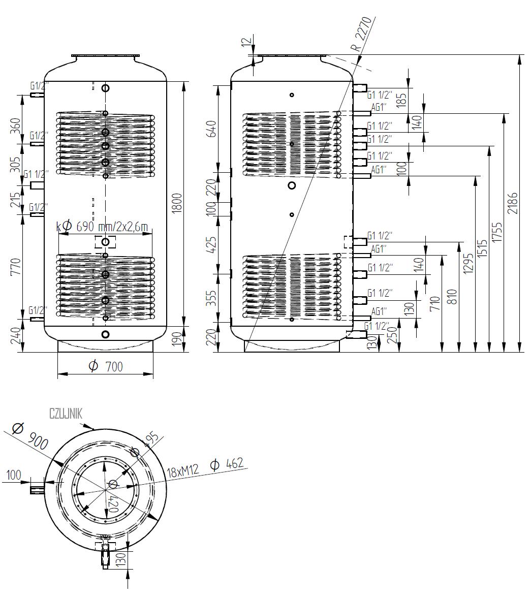 zbiornik buforowy kombinowany 1500l d900 z dwoma wymiennikami