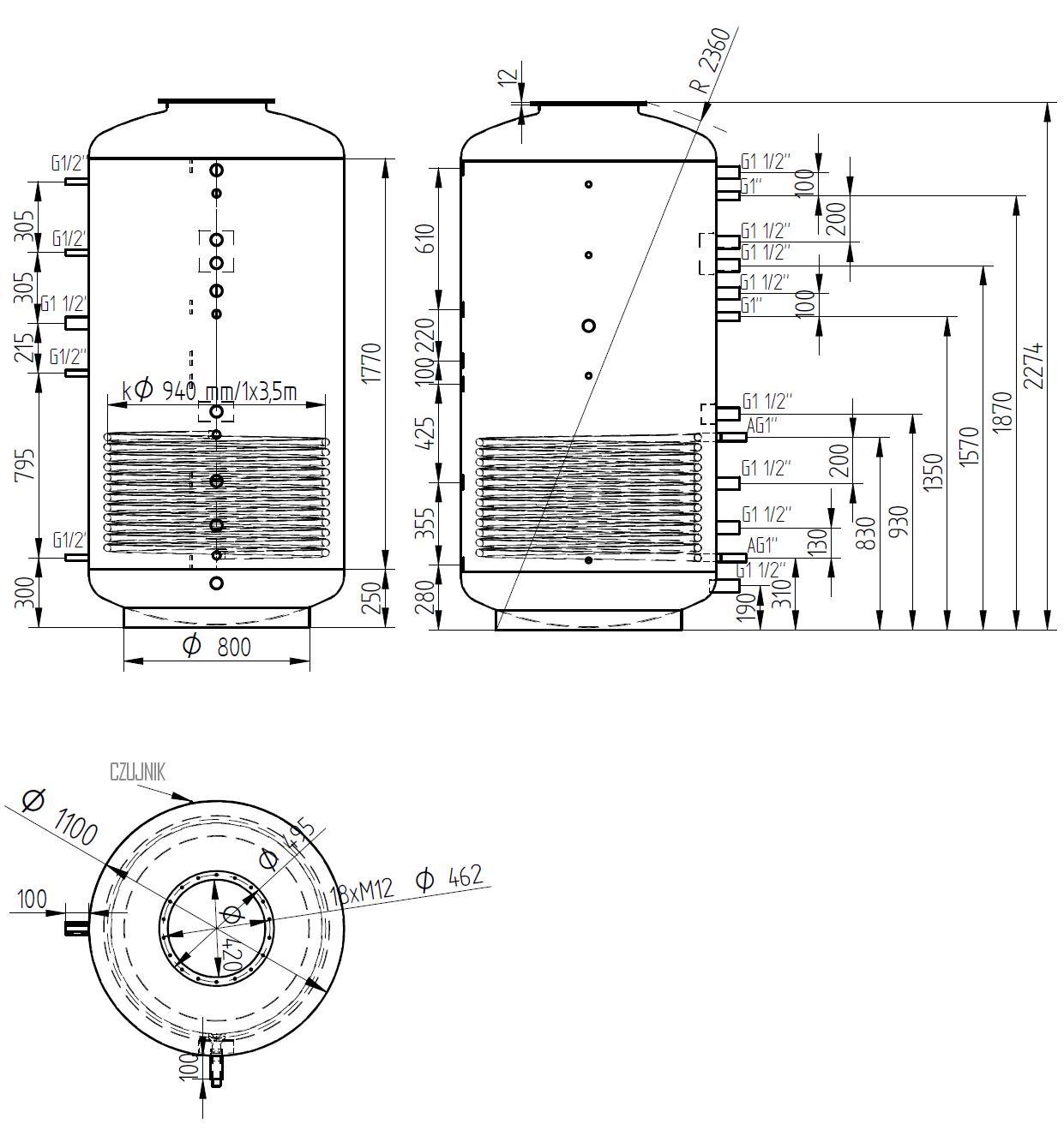 Zbiornik buforowy kombinowany 2000l z wymiennikiem