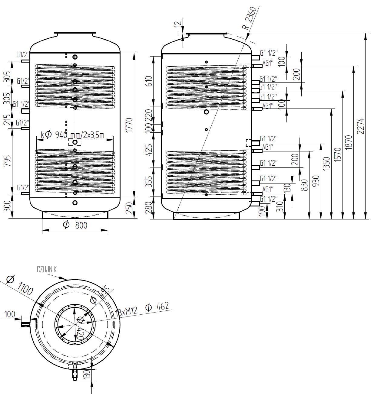 zbiornik buforowy kombinowany 2000l z dwoma wymiennikami