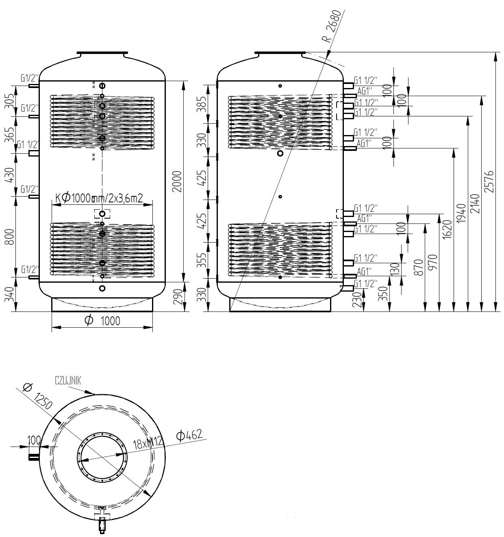 zbiornik buforowy kombinowany 3000l z dwoma wymiennikami