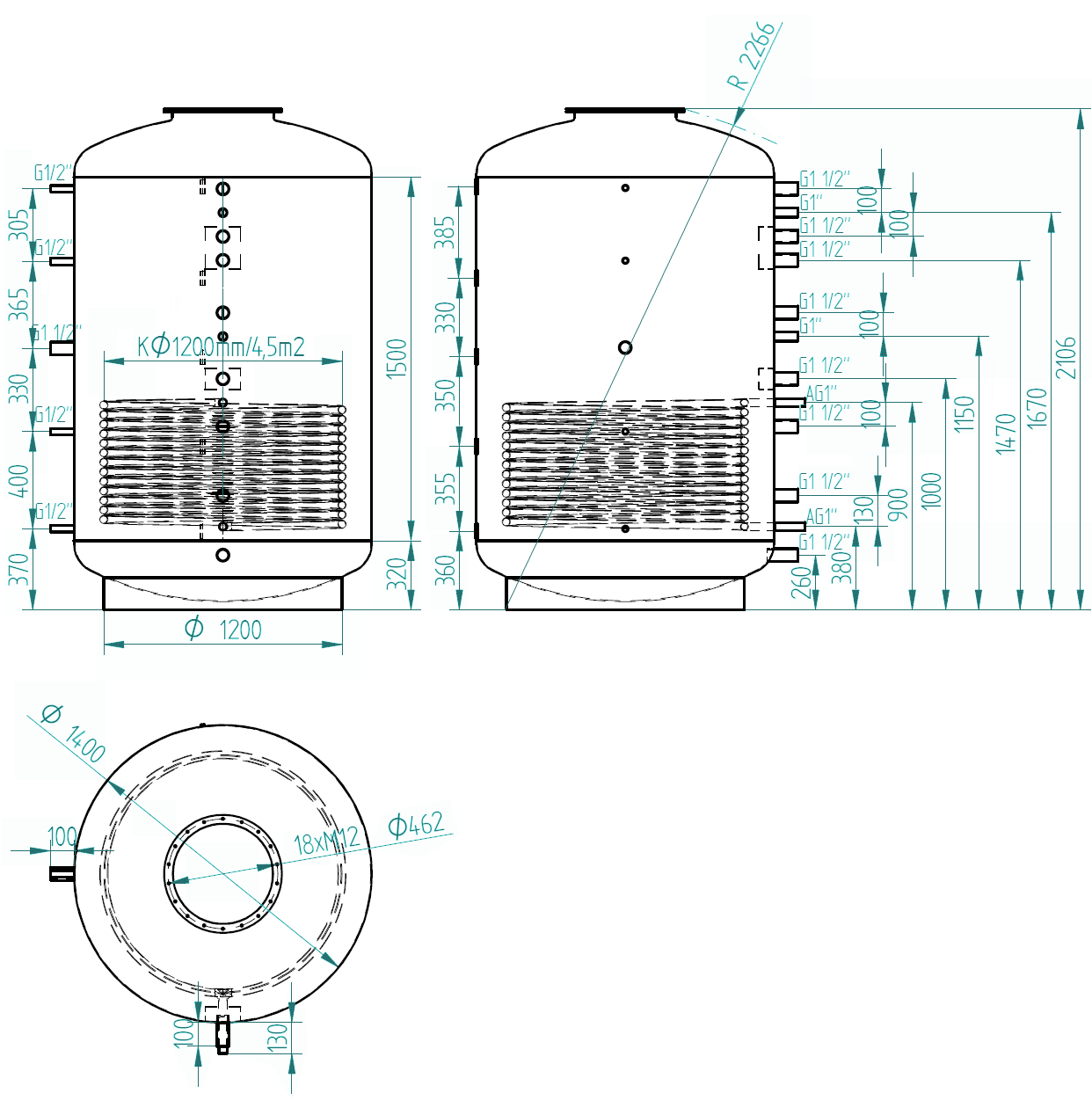 Zbiornik buforowy kombinowany 3000l z wymiennikiem