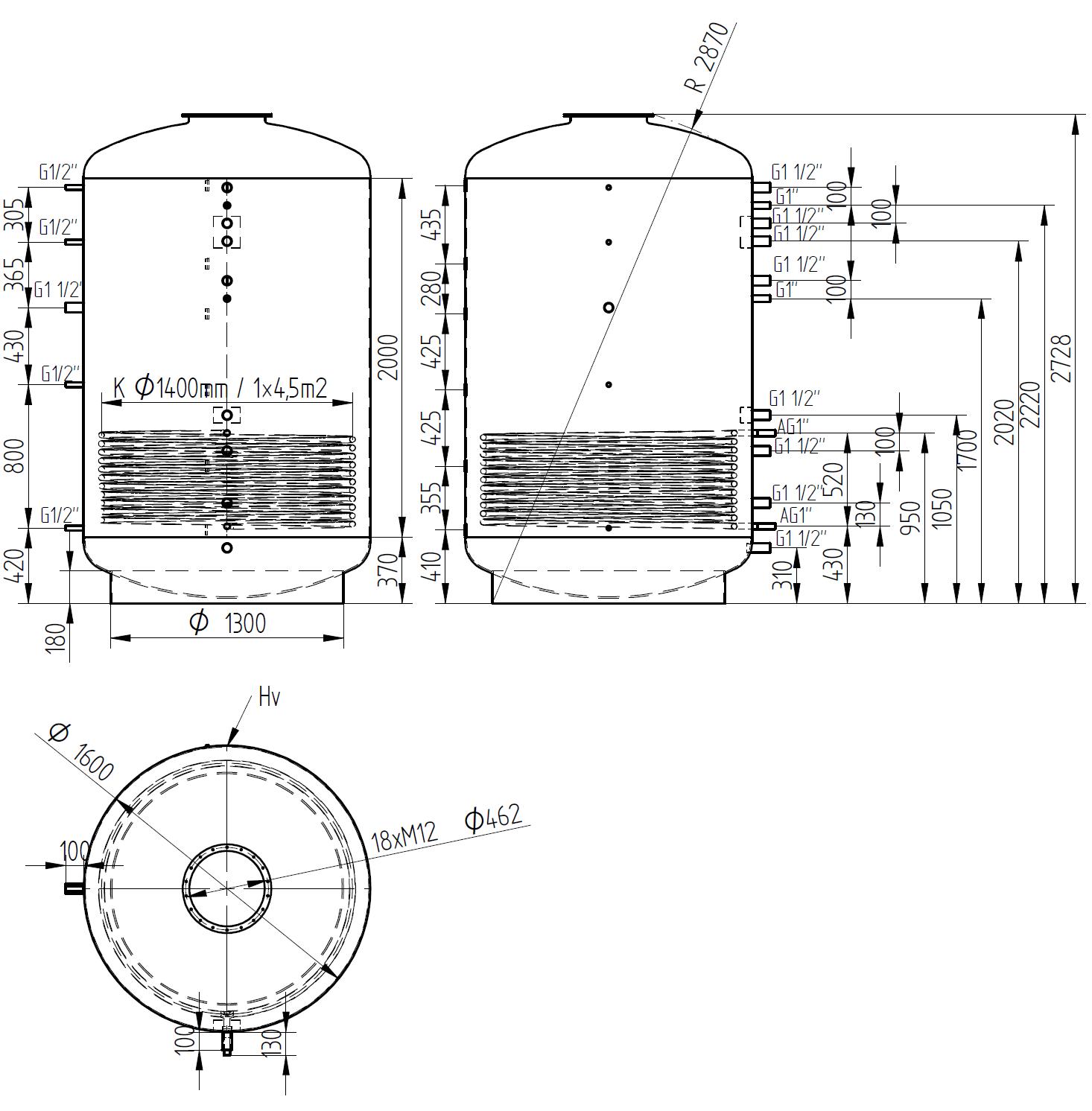 Zbiornik buforowy kombinowany 5000l z wymiennikiem