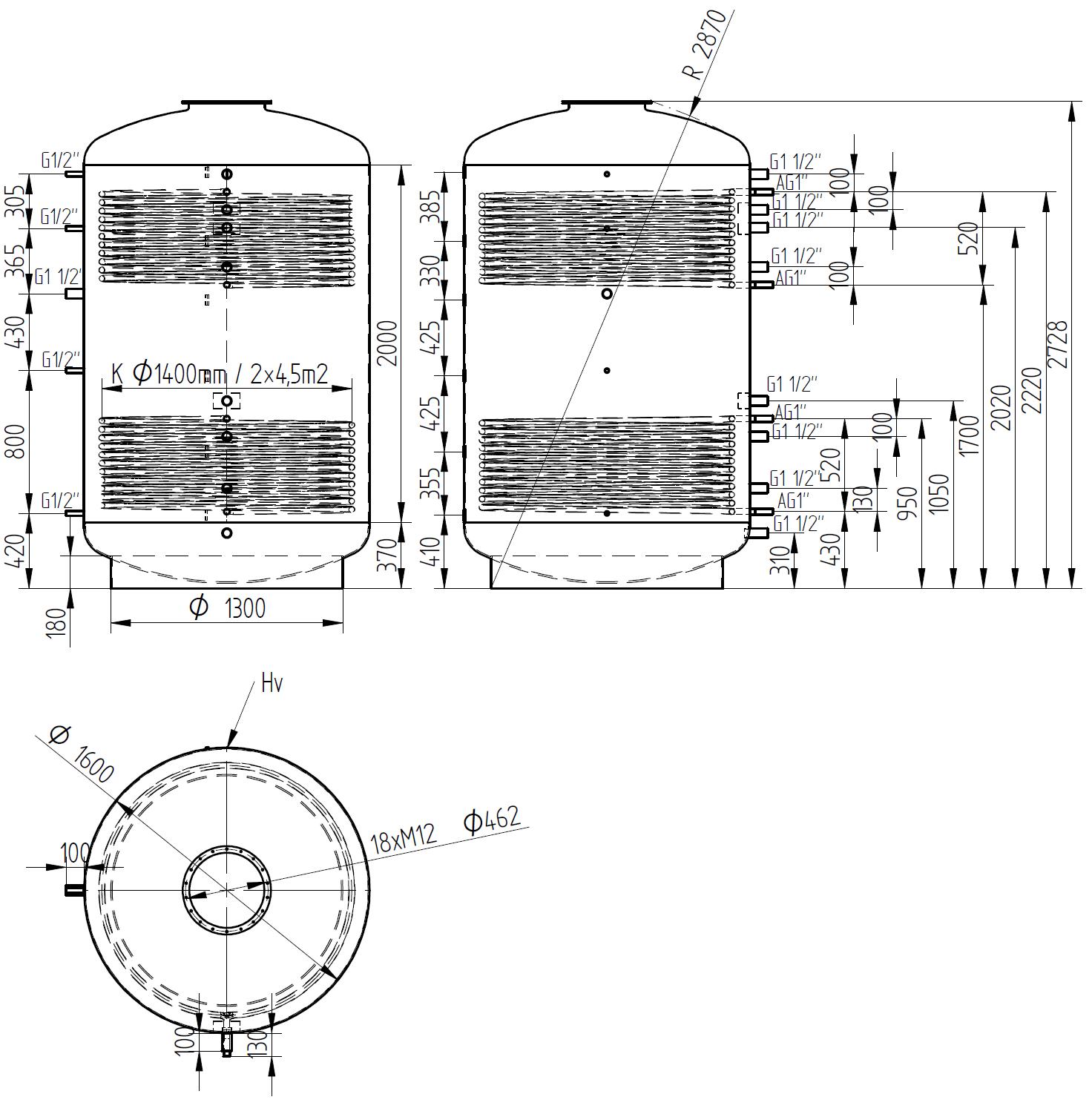 zbiornik buforowy kombinowany 5000l z dwoma wymiennikami