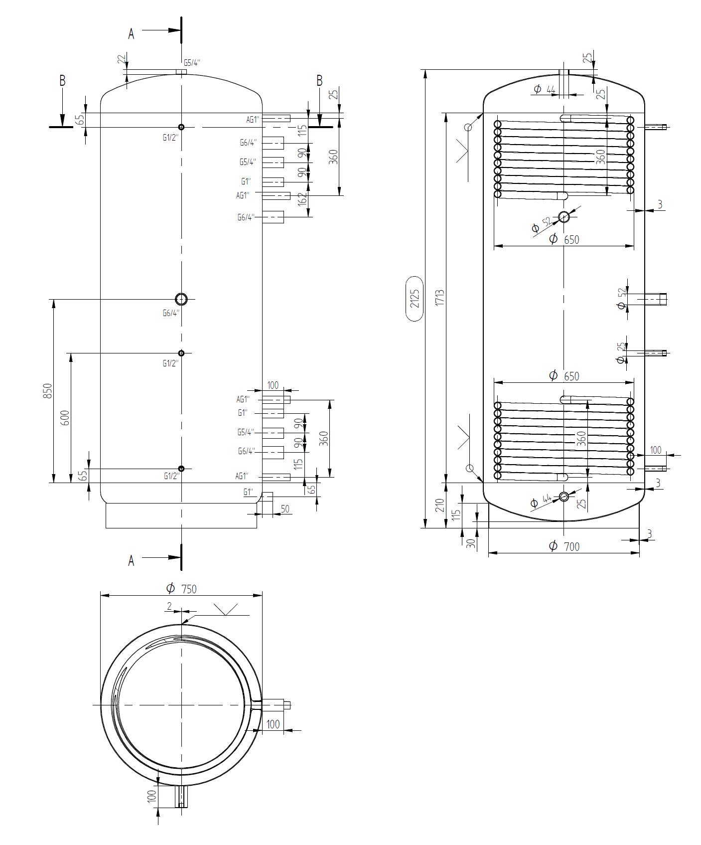 zbiornik buforowy wąski  900l z dwoma wymiennikami