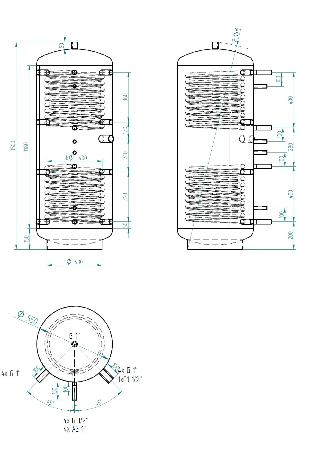 zbiornik buforowy uniwersalny 300l z dwoma wymiennikami