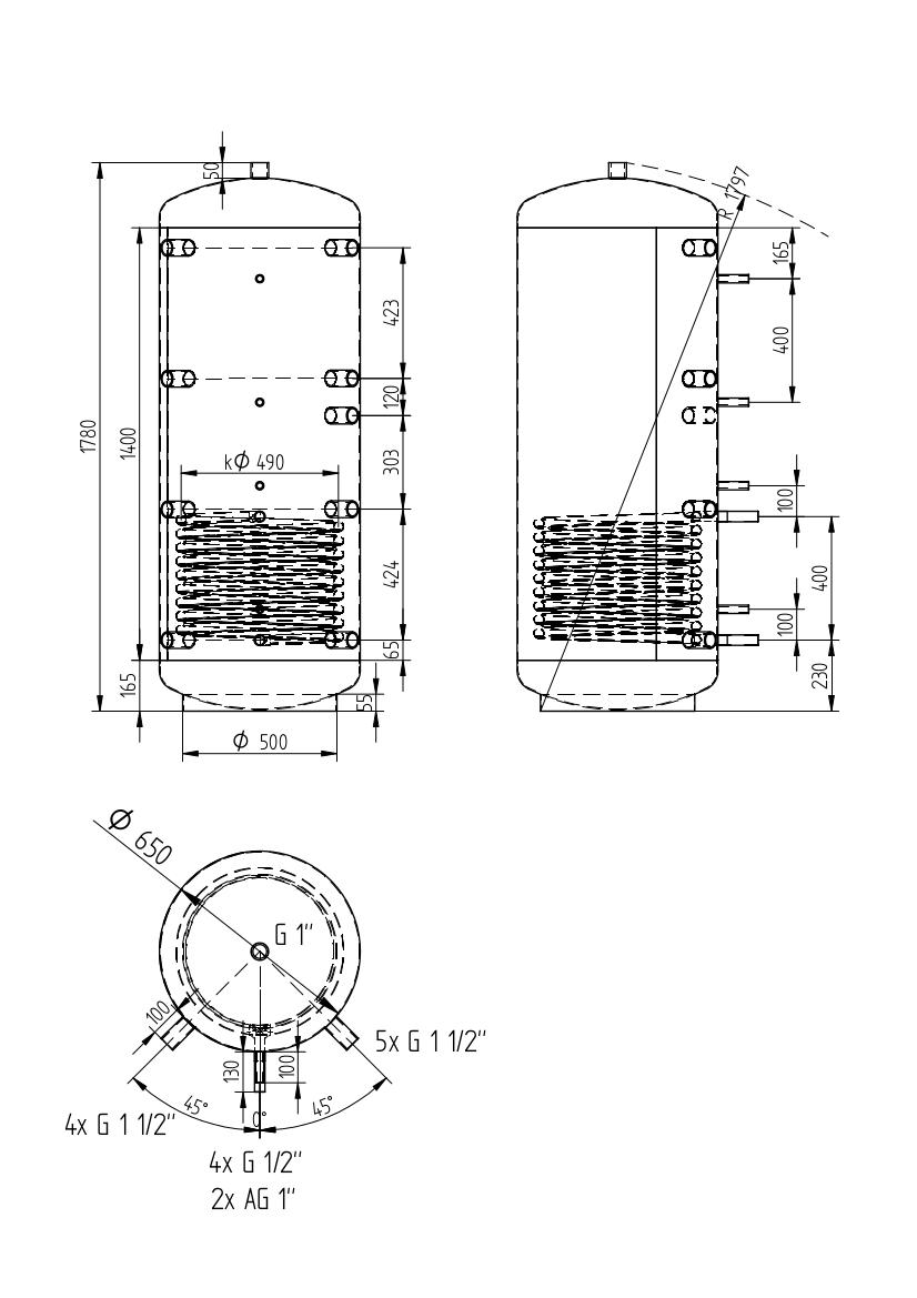 Zbiornik buforowy uniwersalny 500l z wymiennikiem