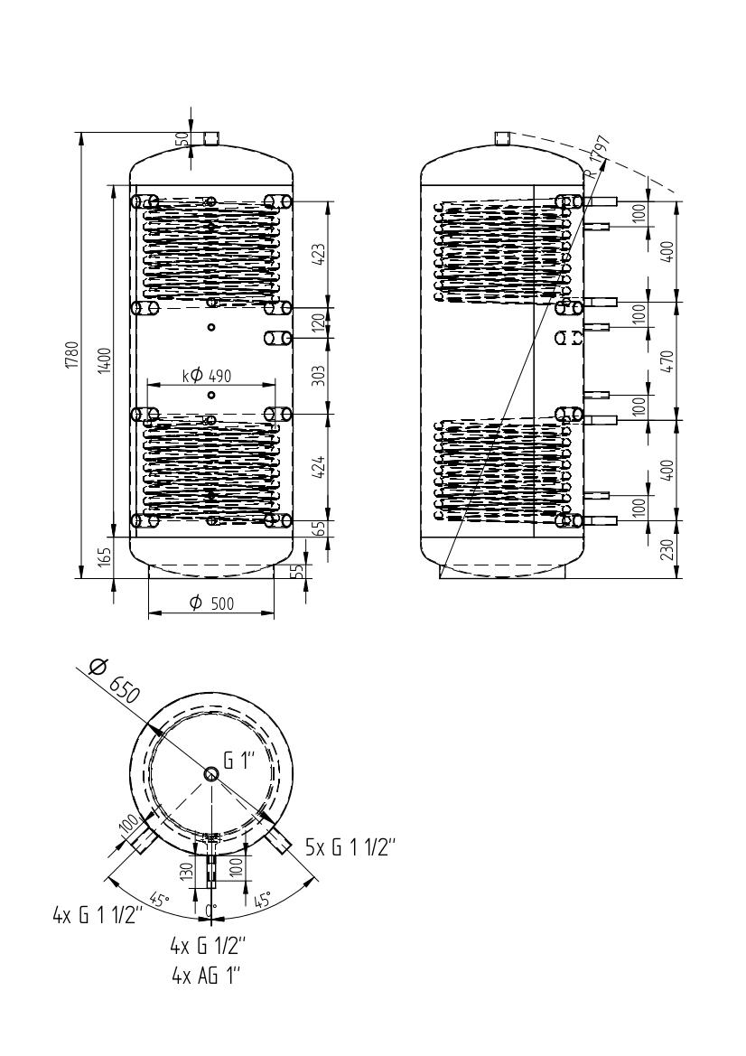 zbiornik buforowy uniwersalny 500l z dwoma wymiennikami