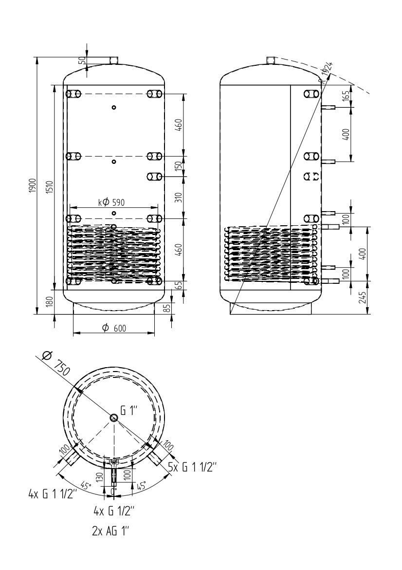 Zbiornik buforowy uniwersalny 750l z wymiennikiem