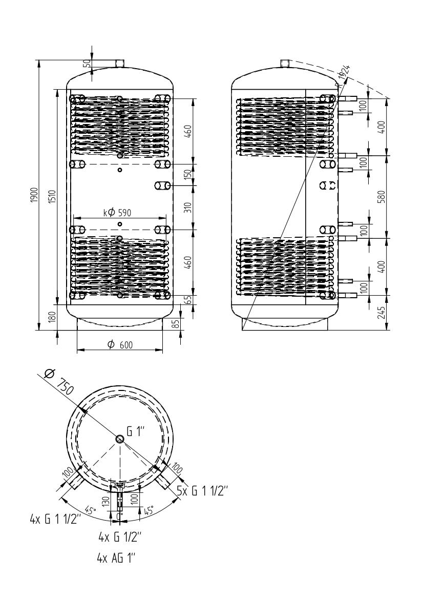zbiornik buforowy uniwersalny 750l z dwoma wymiennikami