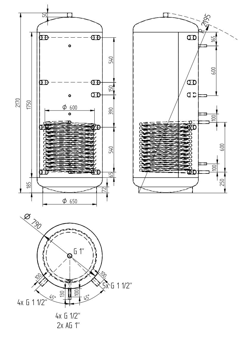 Zbiornik buforowy uniwersalny 1000l z wymiennikiem