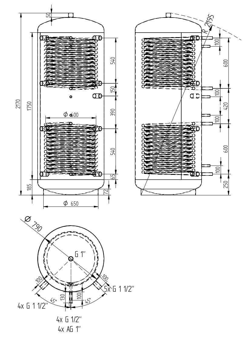 zbiornik buforowy uniwersalny 1000l z dwoma wymiennikami