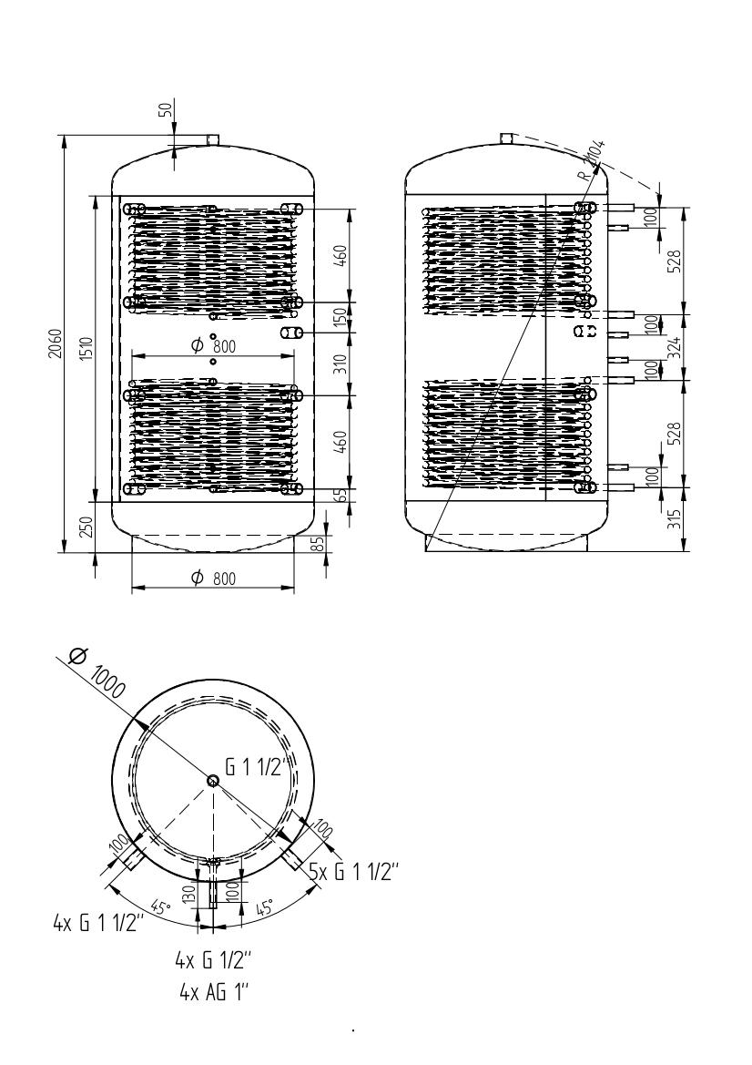 zbiornik buforowy uniwersalny 1500l z dwoma wymiennikami