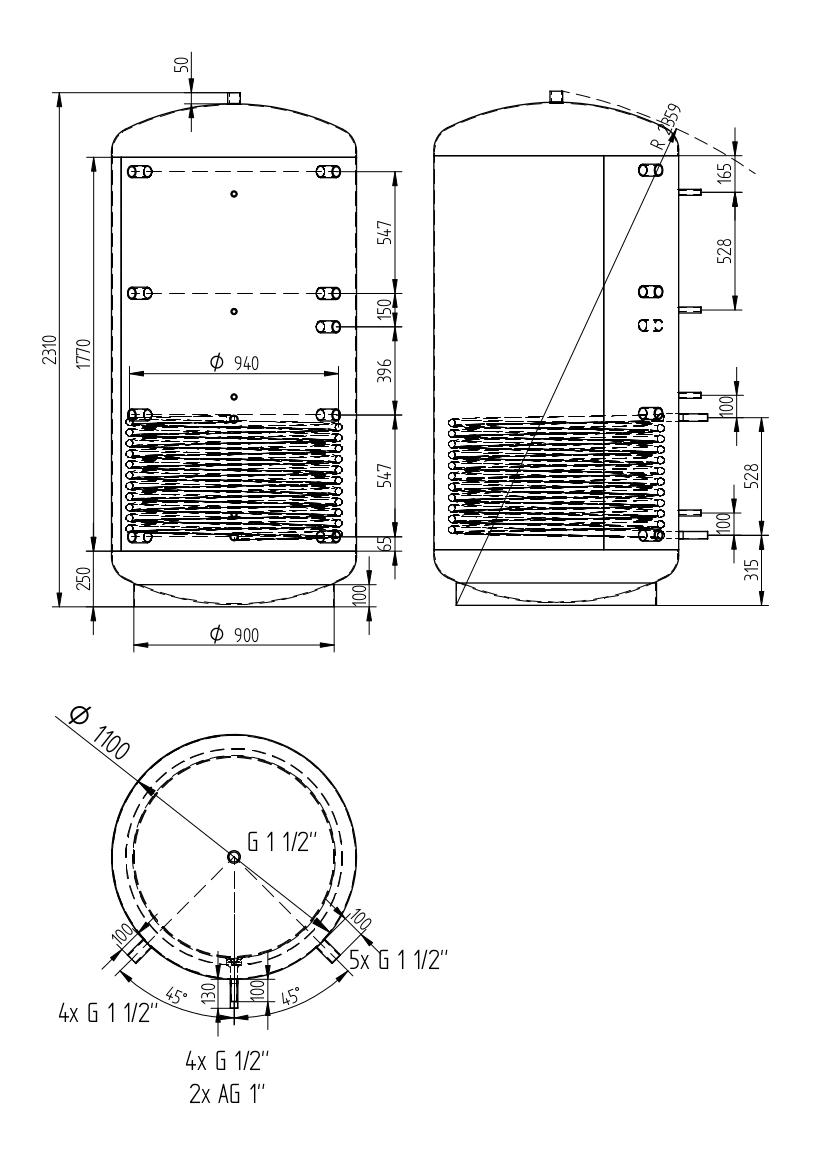Zbiornik buforowy uniwersalny 2000l z wymiennikiem