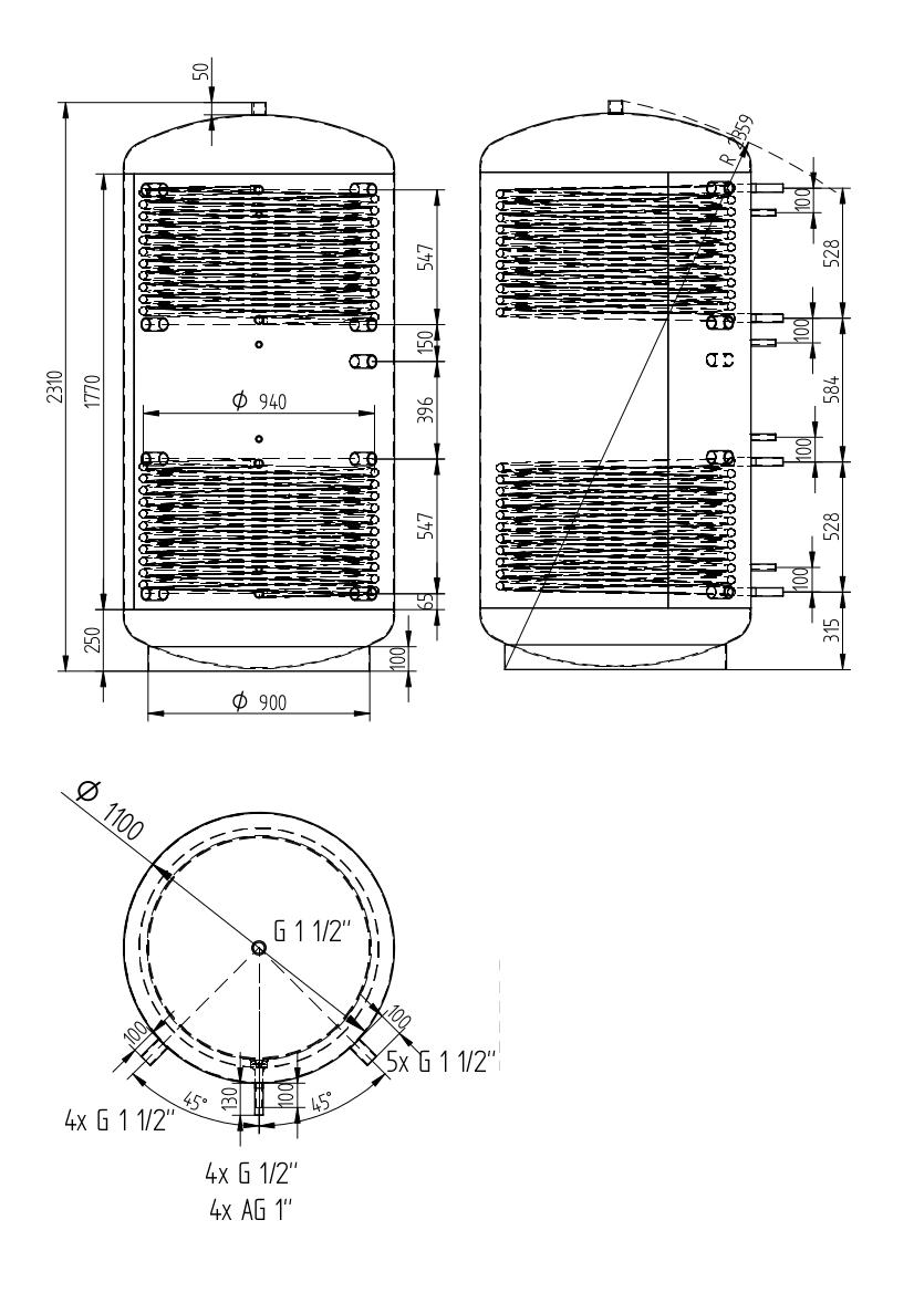 zbiornik buforowy uniwersalny 2000l z dwoma wymiennikami