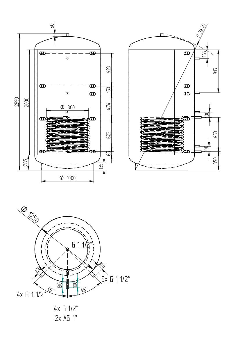 Zbiornik buforowy uniwersalny 3000l z wymiennikiem