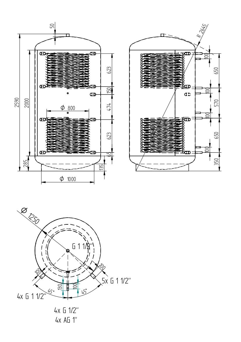 zbiornik buforowy uniwersalny 3000l z dwoma wymiennikami