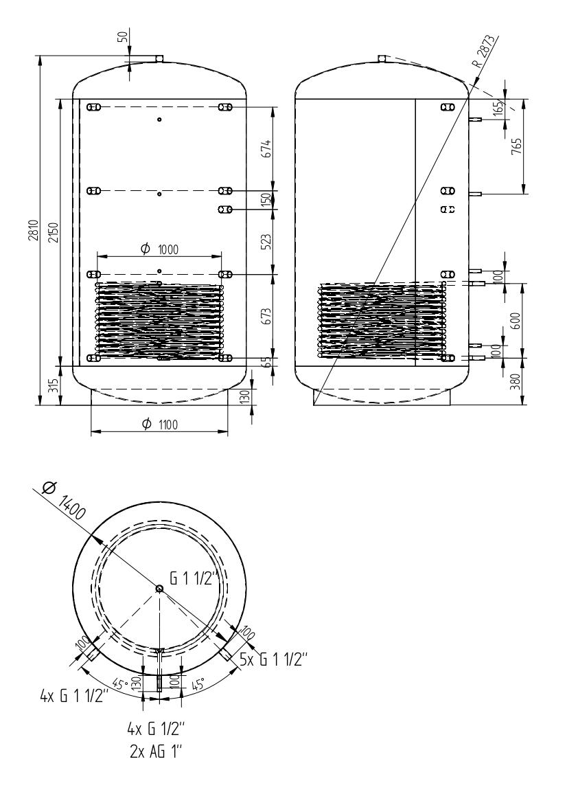 Zbiornik buforowy uniwersalny 4000l z wymiennikiem